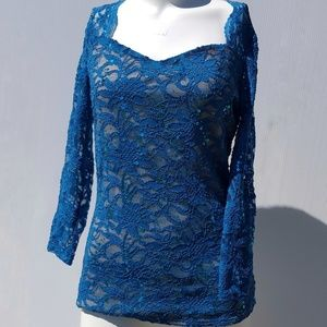 Boston Proper | Teal Blue Lace Top Size S Small